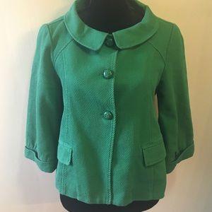 Anthro Green Tulle 3/4 Sleeve Crop Jacket